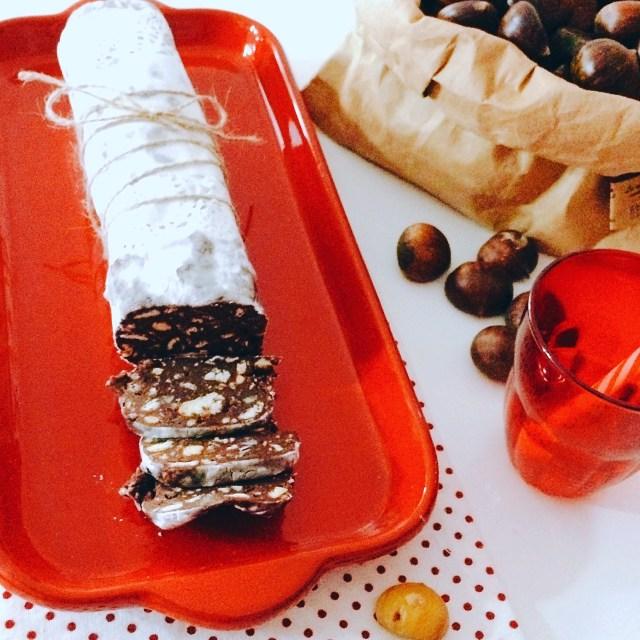 Salame di cioccolato con castagne