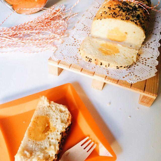 Plumcake cacio e pepe con zucca al centro