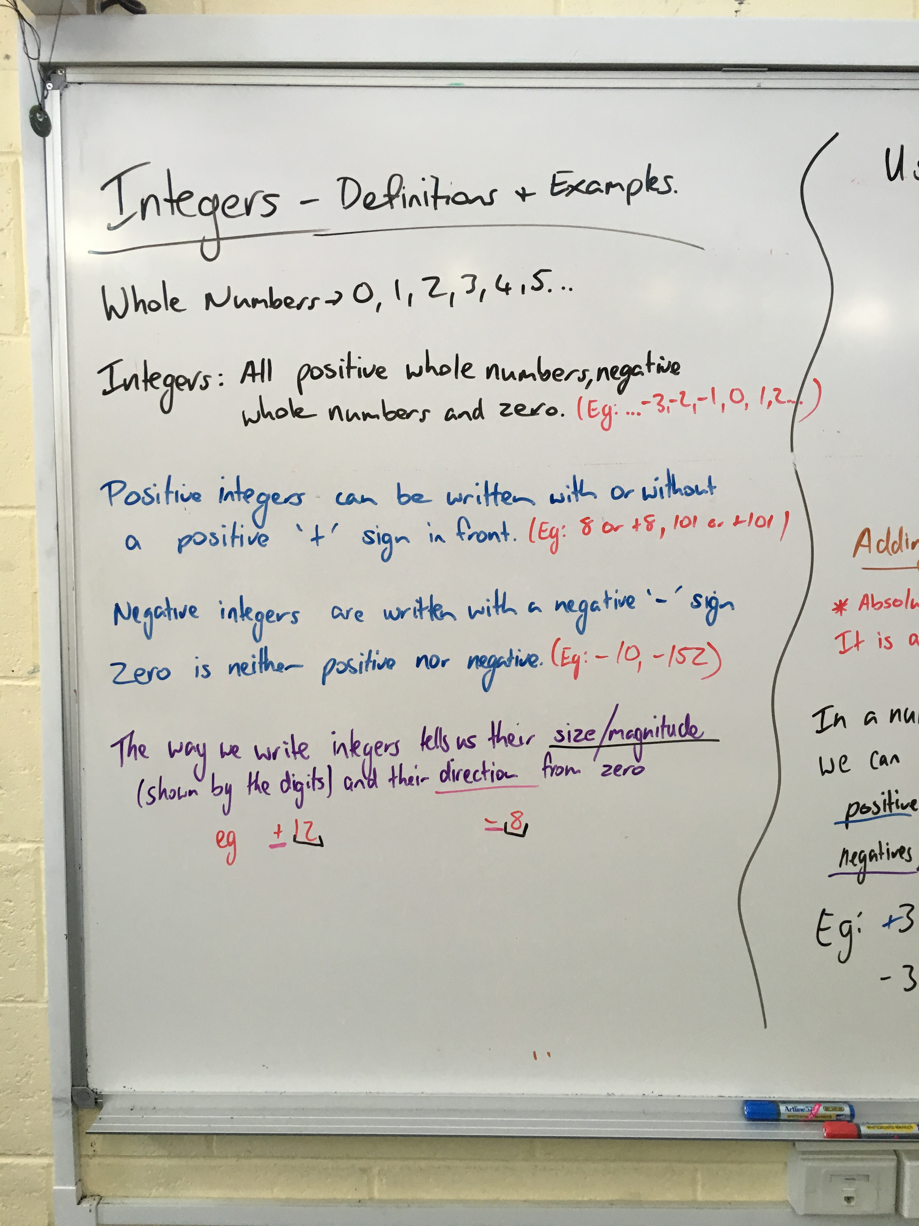 Integers On A Number Line And Adding Subtracting
