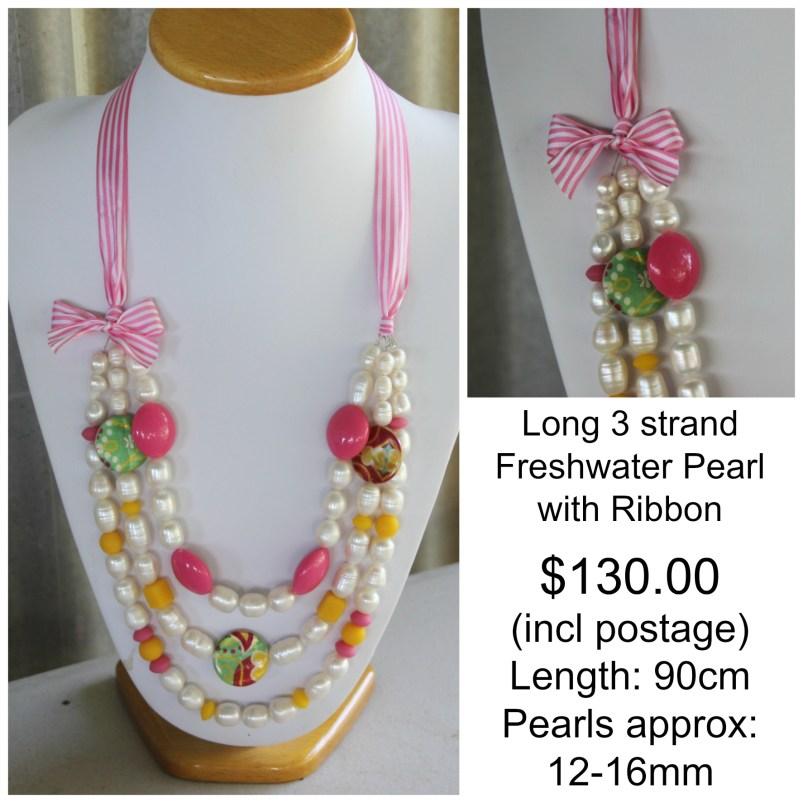 3 strand ribbon necklance