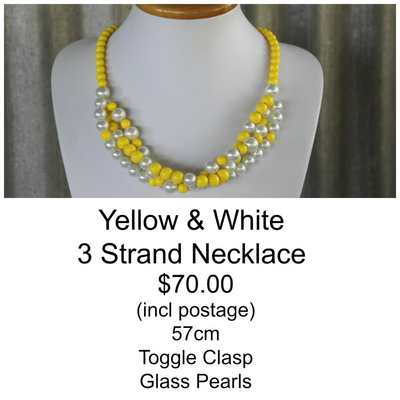 Yellow & White 3 Strand Necklace