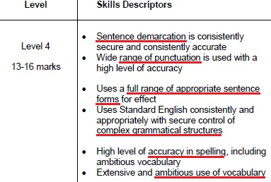 writing mark scheme 2