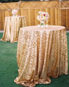 Gorgeous gold sequin pod table covers!