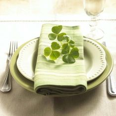 Little Touches! Pale green table setting with shamrocks!