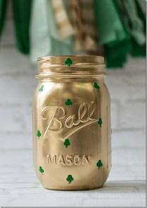 Whiskey in the Jar! Gold mason jar decorated with mini shamrocks!