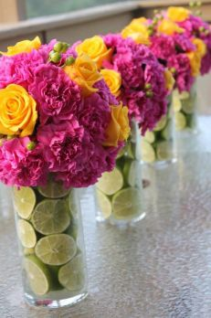 Bright Florals in a Lime filled Vase