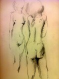 Greeting her own self in Nude