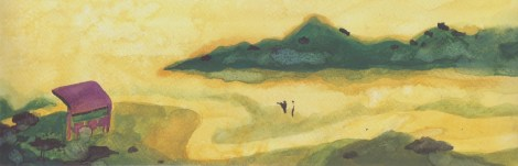 Green Hill (no.4), 2016, 9.7 x 30 cm, Watercolor on paper
