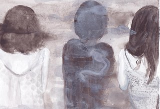 """Private and confidential, 2015, 6.1 x 9.4"""" Watercolor and acrylic on paper"""