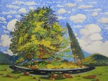 WONG Chun Hei, The Big Tree Along The Road, 2016, Oil on canvas, 30 x 40 cm