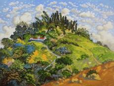 WONG Chun Hei, The houses on the mountain, 2016, oil on canvas, 30 x 40 cm