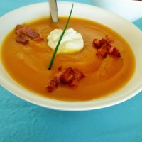 Roast pumpkin soup with bacon croutons