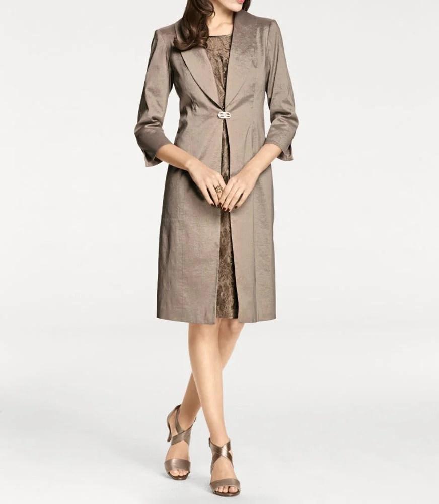 004.364 Ashley Brooke Damen Designer-Abendmantel Leichter Damenmantel Taupe Braun Edel