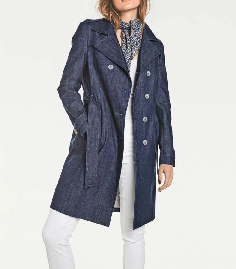 004.425 Rick Cardona Damen Designer-Jeansmantel Trenchcoat Gürtel Mantel Denim Blau