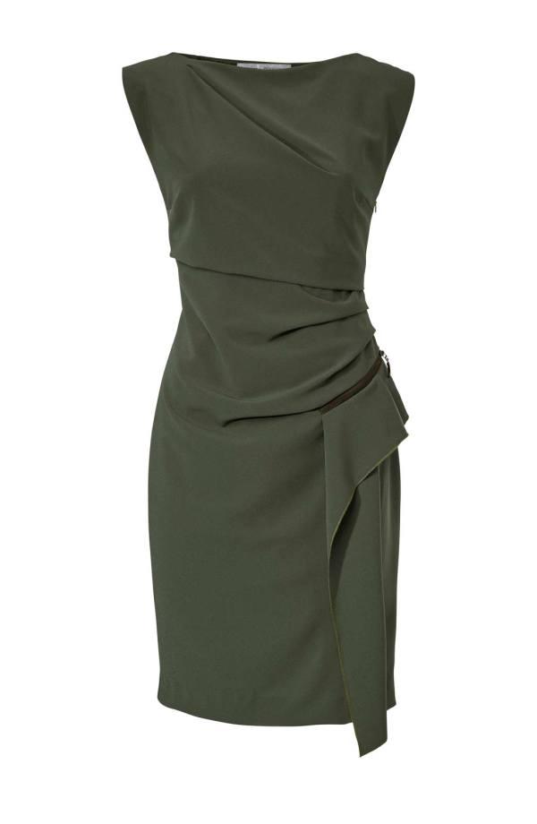 005.220 ASHLEY BROOKE Damen Designer-Etuikleid Khaki