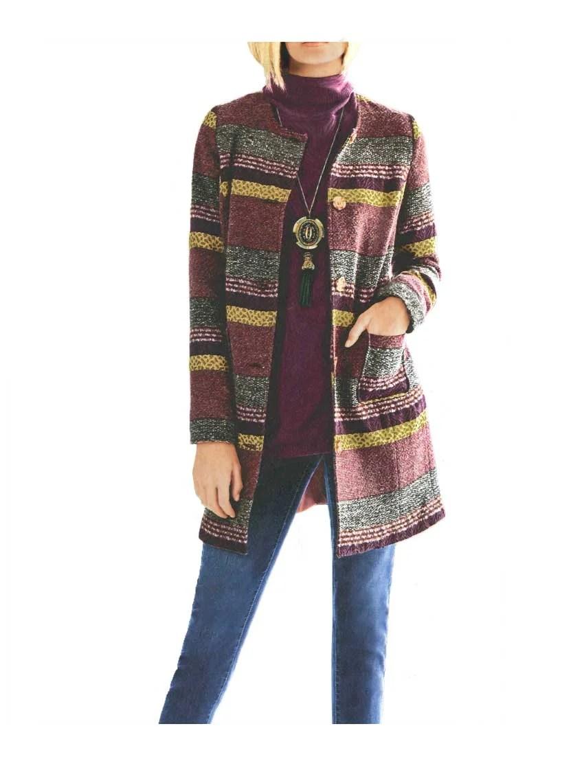 005.406 Rick Cardona Damen Designer-Wollmantel Jacquard Bunt Herbstfarben Ethno Knopf