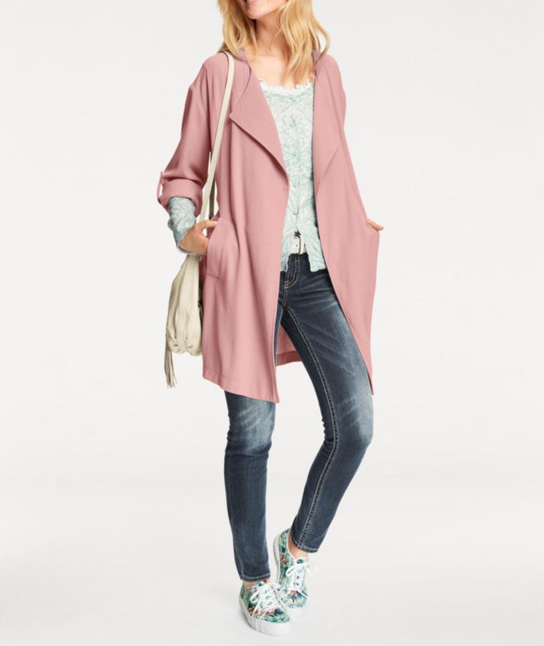 005.874 HEINE Damen Designer-Mantel Rosé Rosa Sommermantel Bindgegürtel Chic!