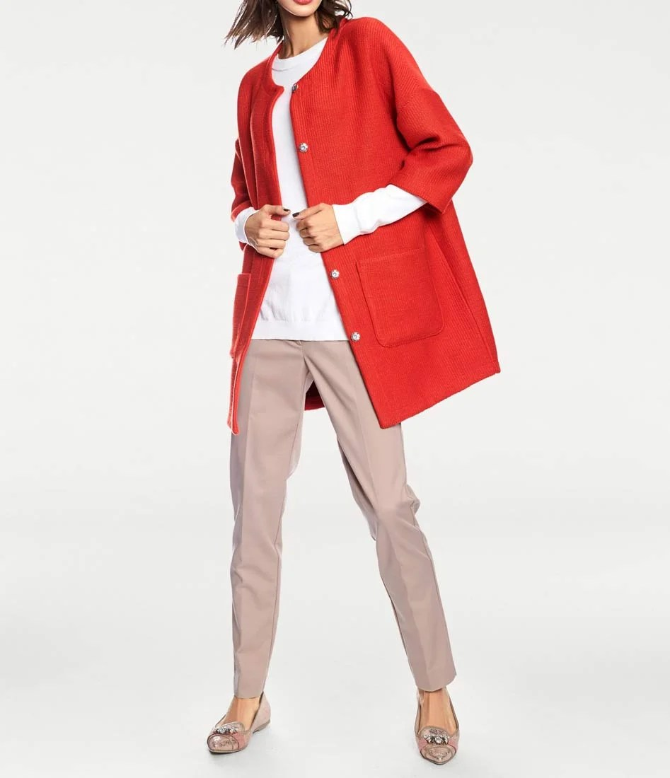 008.506 Rick Cardona Damen Designer- Mantel Rundhals Strick Optik Rot Kurzmantel