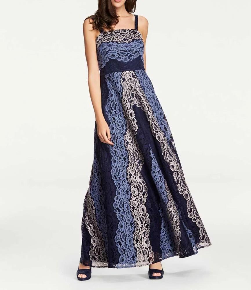 044.367 ASHLEY BROOKE Damen Designer-Spitzenabendkleid Blautöne