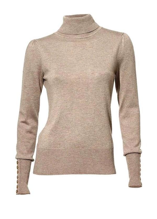 054.979 ASHLEY BROOKE Damen Designer-Rollkragenpullover m. Kaschmir Taupe