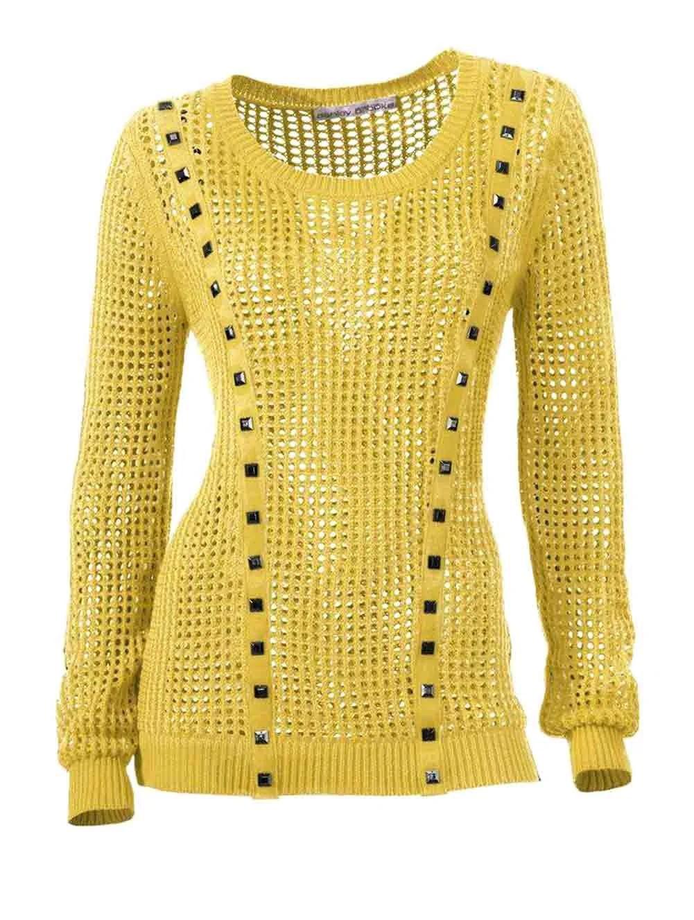 055.701 ASHLEY BROOKE Damen Designer-Pullover Gelb Baumwolle Lochmuster m. Nieten