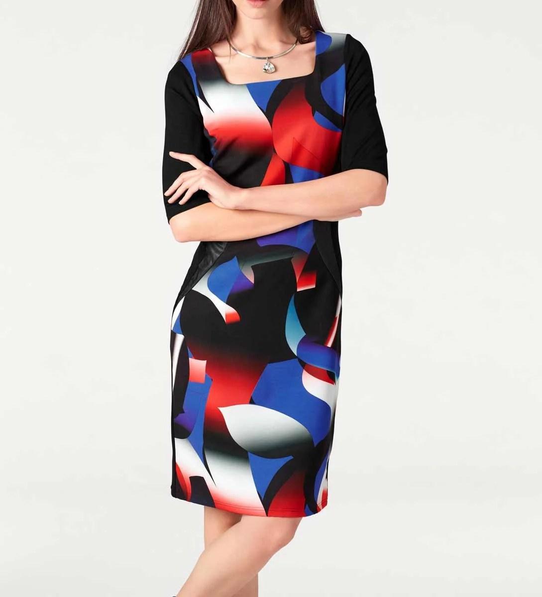 055.979 ASHLEY BROOKE Damen Designer-Etuikleid Schwarz-Bunt