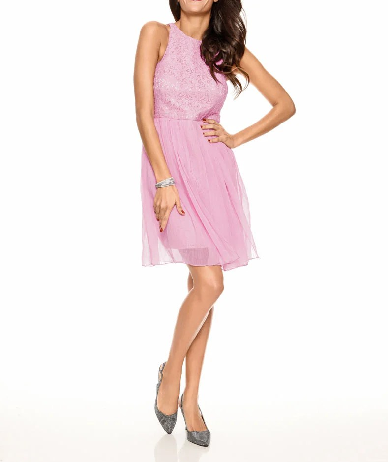 074.697 Spitzen-Chiffonkleid, rosé von Ashley Brooke event Grösse 44