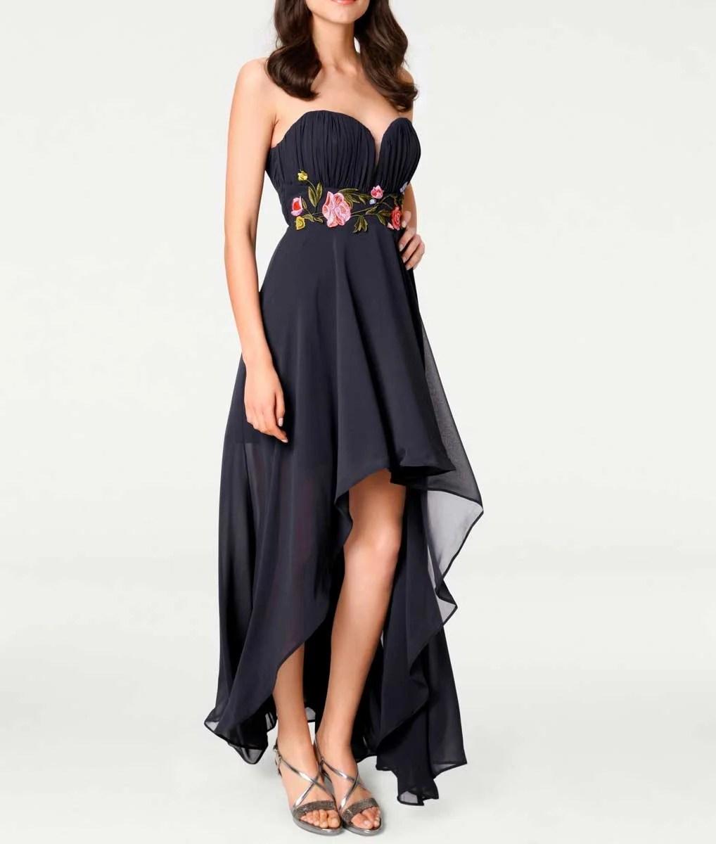 080.597 ASHLEY BROOKE Damen Designer-Abendkleid m. Stickerei Marine