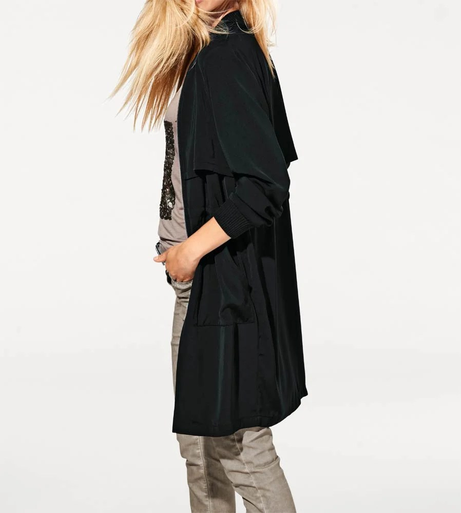 081.568 HEINE Damen Designer Mantel Tailliert schwarz Best Connections