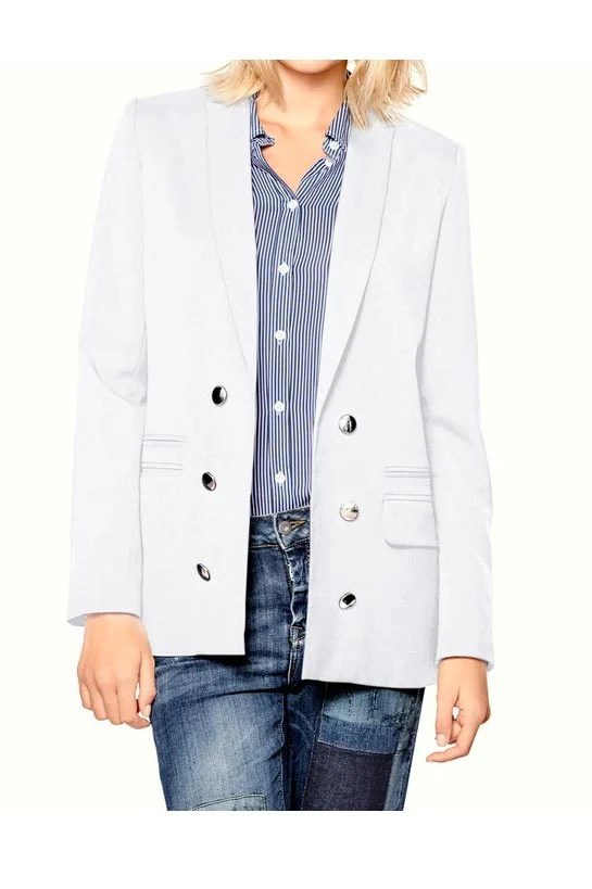 081.898 Mandarin Damen Designer-Blazer Lang Weiß Blazerjacke offwhite Knopf Silber