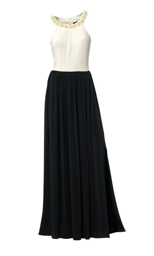 115.370 Abendkleid m. Perlen, schwarz-weiß von Ashley Brooke event Grösse 20 (40)