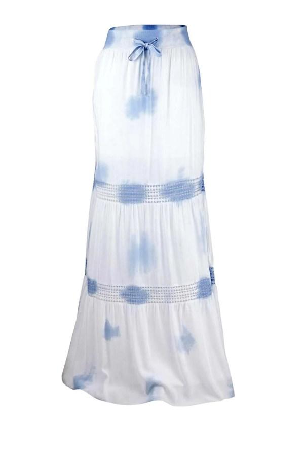 118.096 HEINE Damen Designer-Maxirock m. Spitze Weiß-Blau
