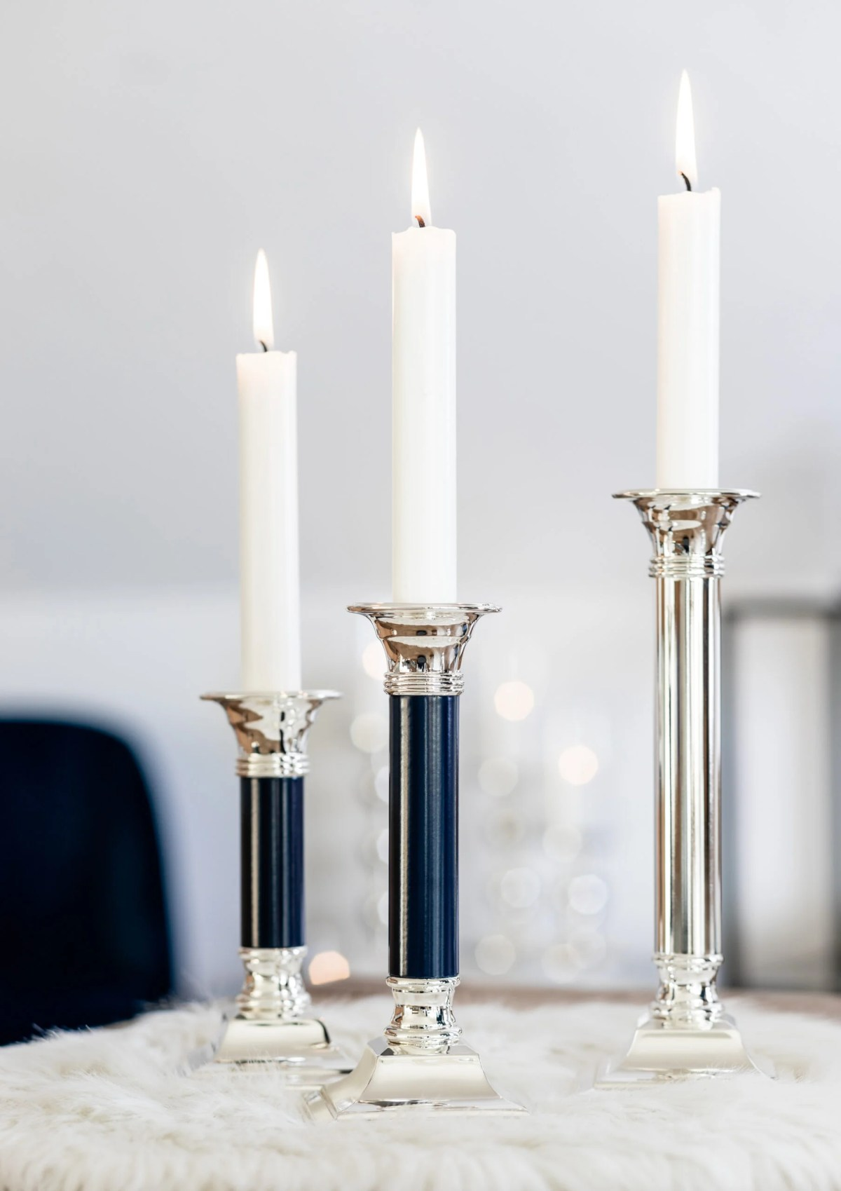 1177 Kerzenleuchter Lincoln Dunkelblau Leder, Höhe 19 cm