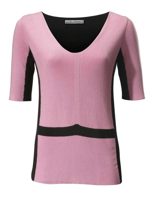 169.870 ASHLEY BROOKE Damen Designer-Pullover Rosé-Schwarz