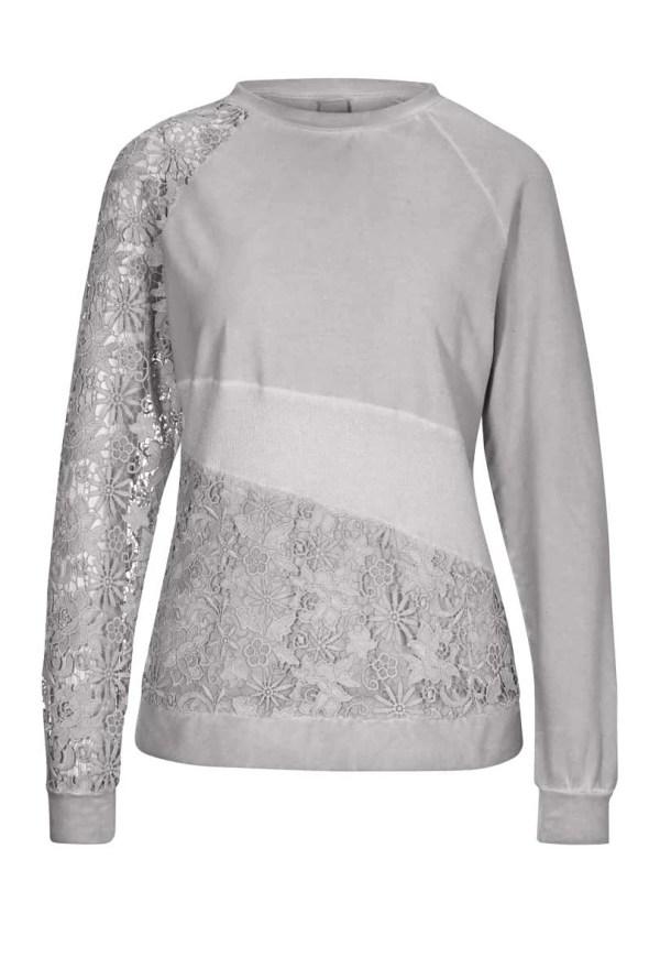 264.927 HEINE Damen Designer-Sweatshirt m. Spitze Hellgrau-Used