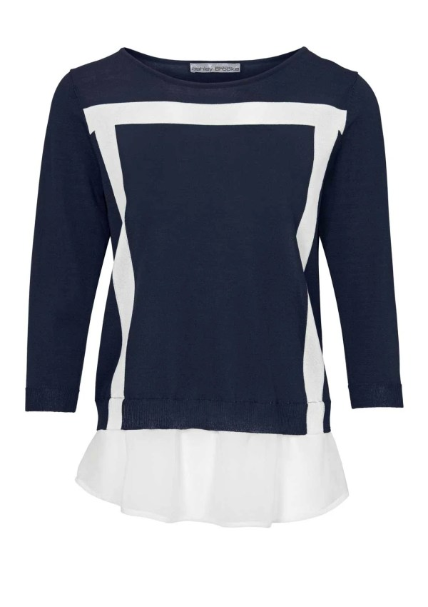 310.093 ASHLEY BROOKE Damen Designer-2-in-1-Pullover Marine-Weiß Blau Chiffon Bluse