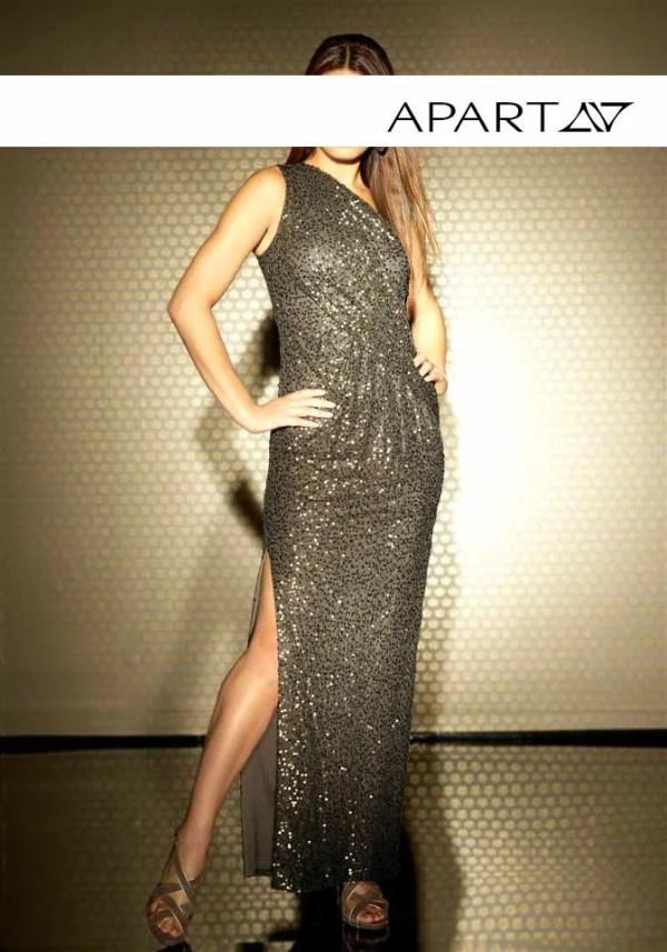 355.563 APART Damen Designer-Paillettenkleid Khaki