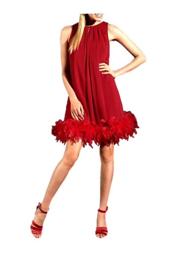 514.877 Chiffon-Abendkleid mit Federboa rot von APART Grösse 34