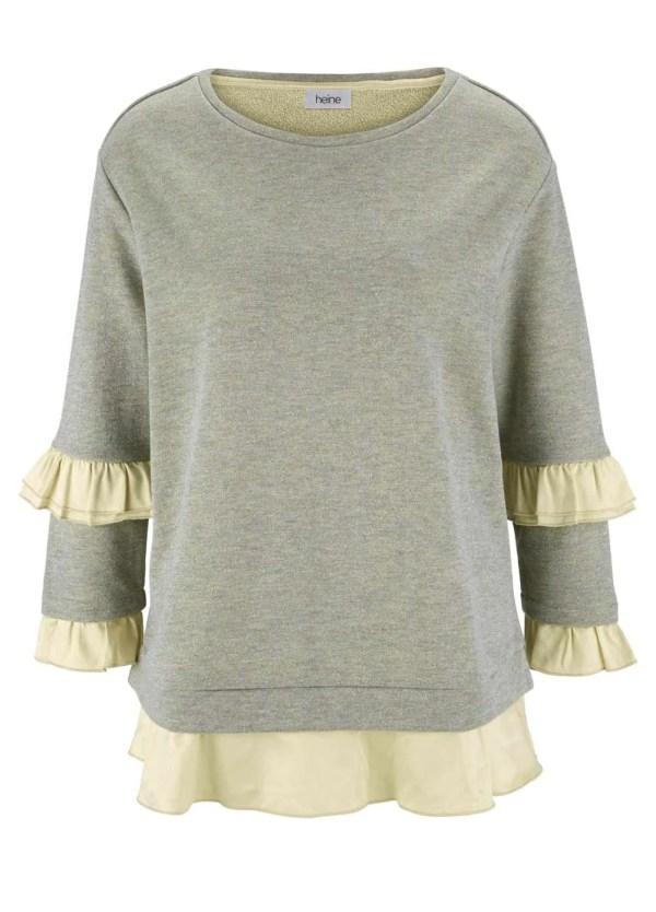 541.979 HEINE Damen Designer-Sweatshirt m. Volants Beige-Goldfarben