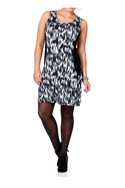 564.176 SHEEGO Damen-Kleid Schwarz-Grau Minikleid