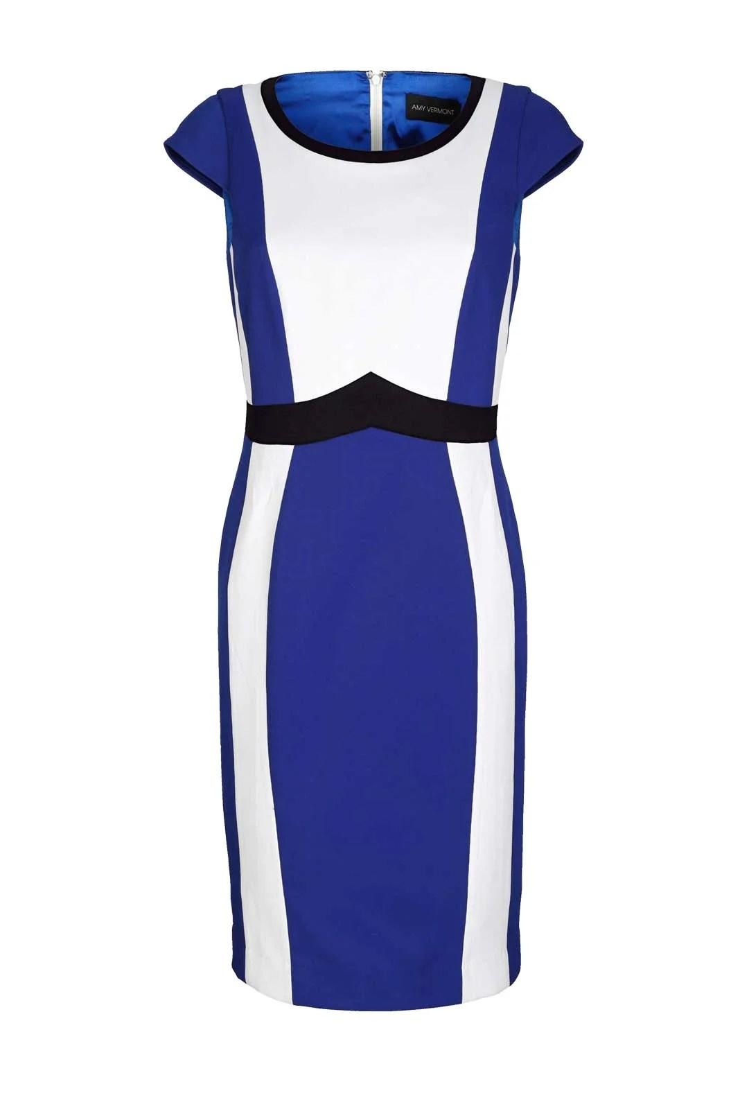 630.672 AMY VERMONT Damen-Etuikleid Royalblau-Weiß