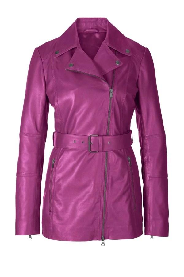 644.462 HEINE Damen Designer-Lammnappa-Lederjacke Echtlederjacke Gürtel Pink