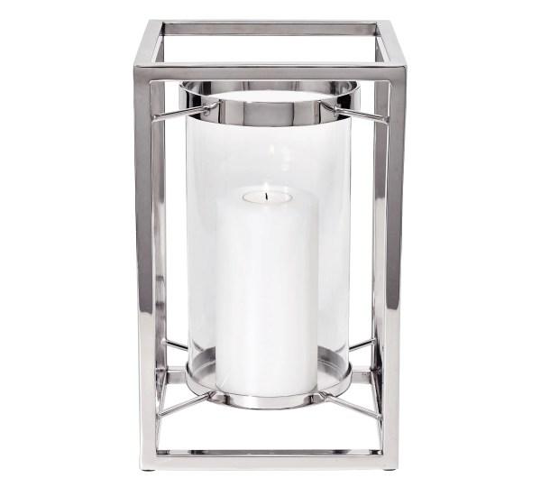 7081 Edzard Windlicht Laterne Kerzenhalter Banu Edelstahl Silber Glas Höhe 31 cm