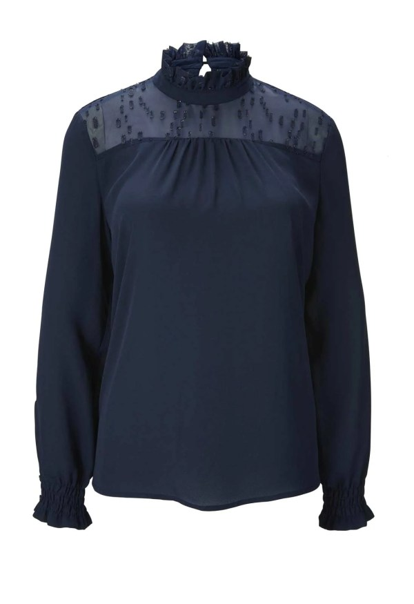 781.464 HEINE Damen Designer-Bluse mit Stehkragen Marine