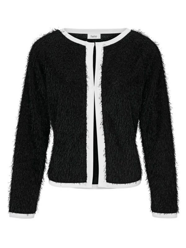892.510a HEINE Damen Designer-Cardigan Schwarz-Weiß