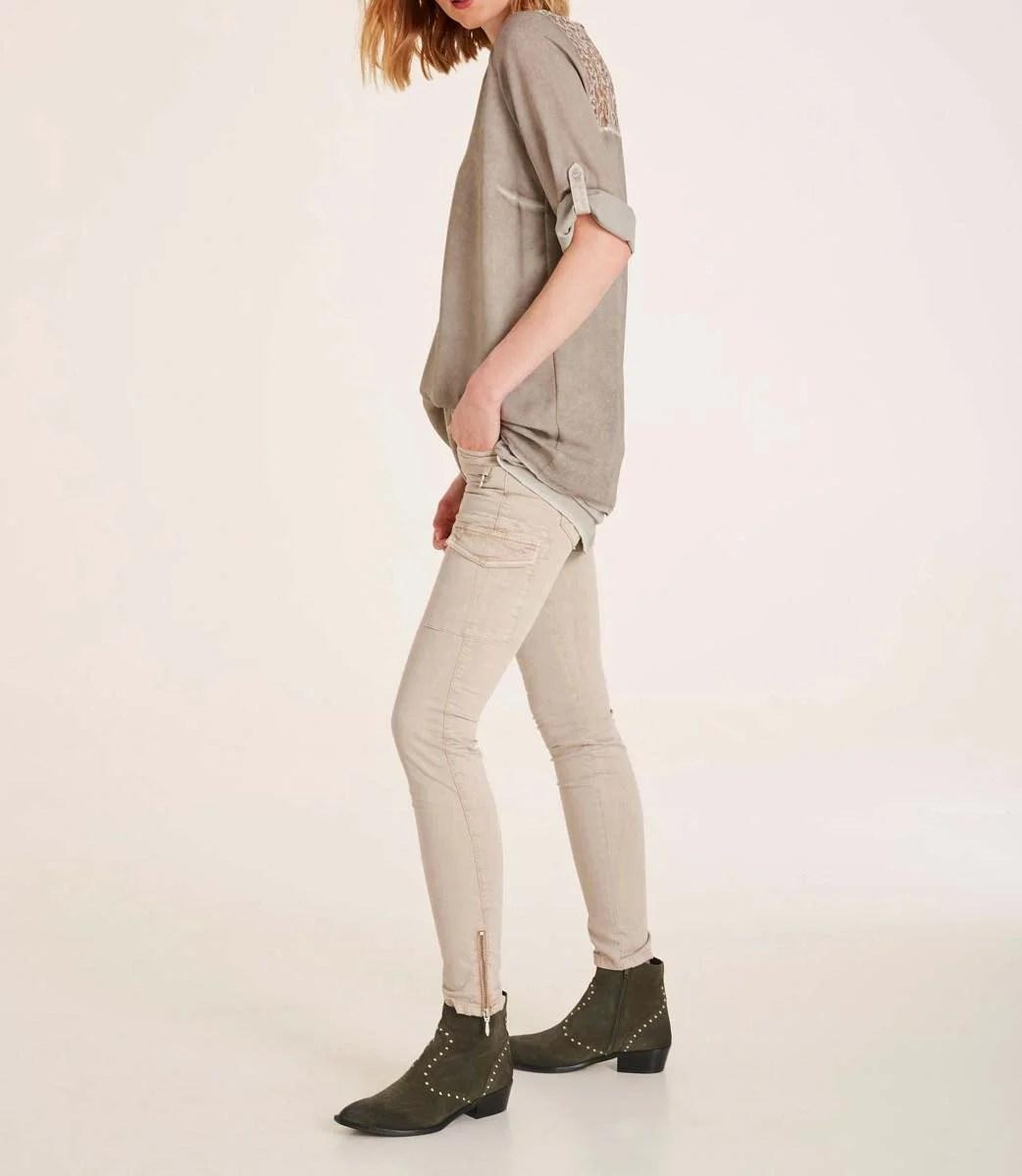 897.476 HEINE Damen Designer-Bluse m. Spitze Taupe