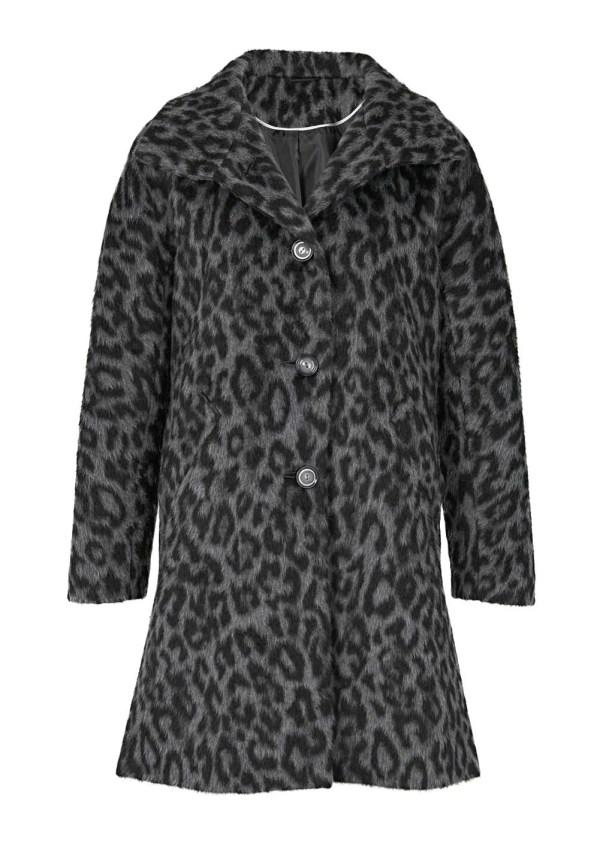 965.045 Heine Wollflauschmantel Leopardenmuster grau-schwarz