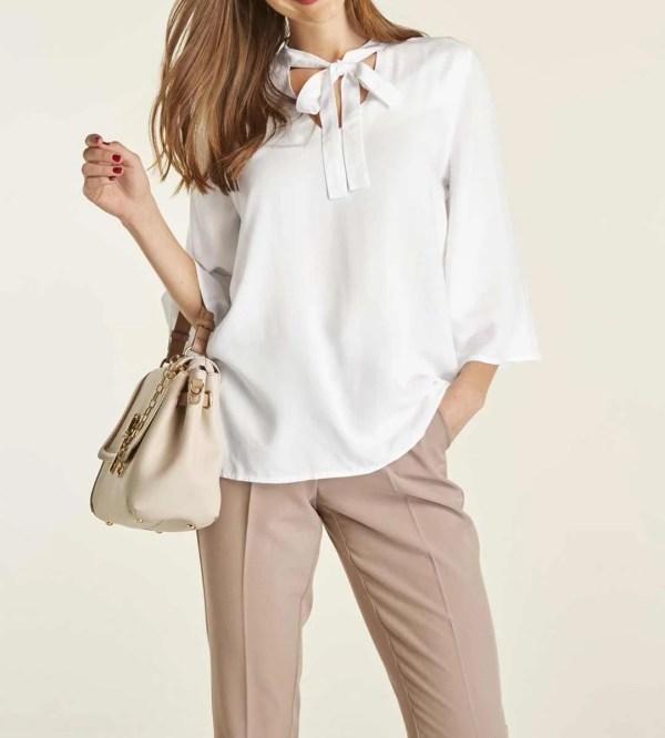 982.255 HEINE Damen Designer-Bluse mit Schluppe Weiß