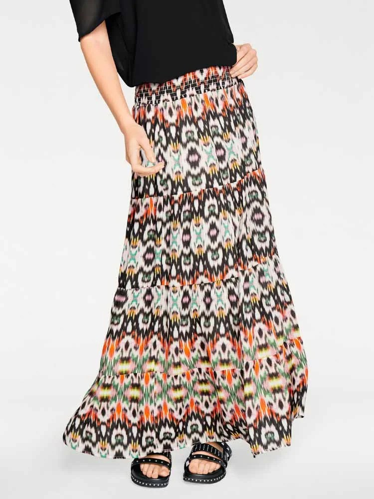 876.369 RICK CARDONA Damen Designer-Maxirock Stufenrock Bunt