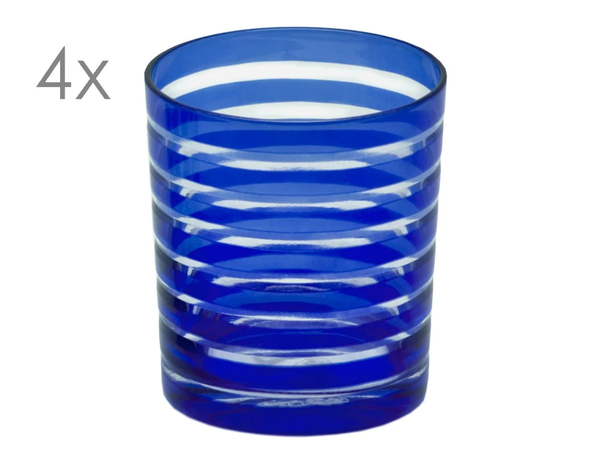 8062 4er Set Kristallgläser Nelson, blau, handgeschliffenes Glas